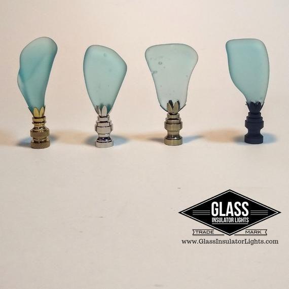Lamp Finials Handmade With Vintage Telegraph Glass Insulators