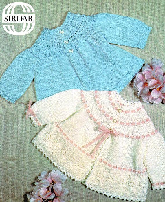 PDF Vintage Baby Knitting Pattern Matinee Yoke Sirdar 3359