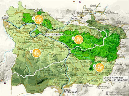 Imagemap alt /( Radkarten gebietsweise  1.Nationalpark Sächsische Schweiz – vorderer Teil 2.Nationalpark Sächsische Schweiz – hinterer Teil 3.Landschaftsschutzgebiet Sächsische Schweiz 4.Radwege-KarteGesamtplan(inkl. Böhm. Schweiz) )/