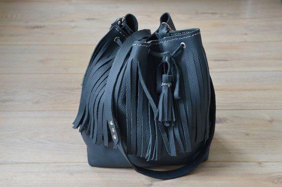 Blue handmade leather fringe bucket bag with long strap