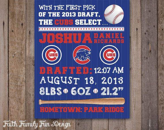 MLB Chicago Cubs Baseball Wall Art Birth by FaithFamilyFunDesign, $8.00