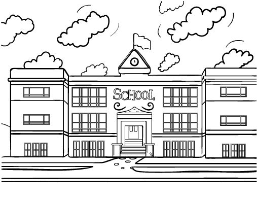 Printable school house coloring page. Free PDF download at