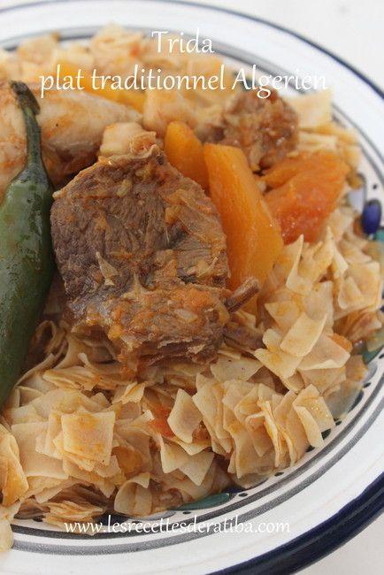 Trida/Plat traditionnel Algérien . Trida est un plat traditionnel Algérien tres éxactement dans l'est d'algérie , mais on les retrouve aussi chez nos voisin Tunisien sous le nom de NWESSER Trida est une sorte de petite pâte carré a base d'une sauce sauce...