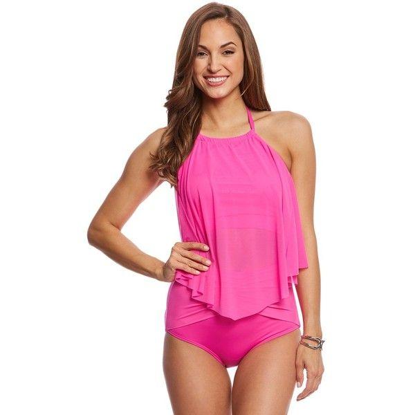 Coco Reef Classic Solid Aura Mesh Ruffle Tankini Top (C/D/DD Cup) ($80) ❤ liked on Polyvore featuring swimwear, bikinis, bikini tops, summer pink, pink high waisted bikini, underwire bikini tops, flounce bikini top, underwire halter tankini and halter top tankini