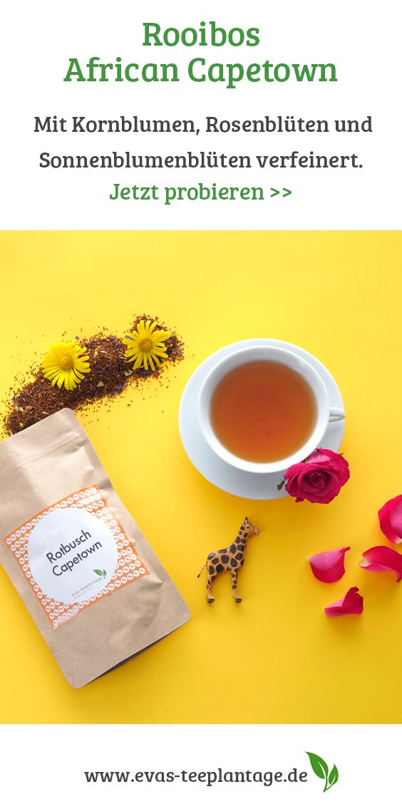 Rotbuschtee, der sein Anbaugebiet schon im Namen trägt. Die größten Rotbuschmengen werden von Teebauern rund um das südafrikanische Kappstadt herum produziert. Dieser Rooibos-/Rotbuschtee ist mit zarten Kornblumen und Rosen verfeinert.