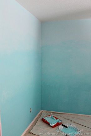 How to Ombre Your Walls - shades of blue/navy or grey instead of turquoise