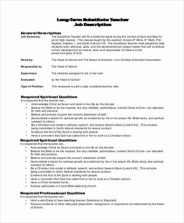 Substitute Teacher Resume Description Elegant Sample Substitute Teacher Job Description 8 Examples In Teacher Resume Examples Jobs For Teachers Teacher Resume