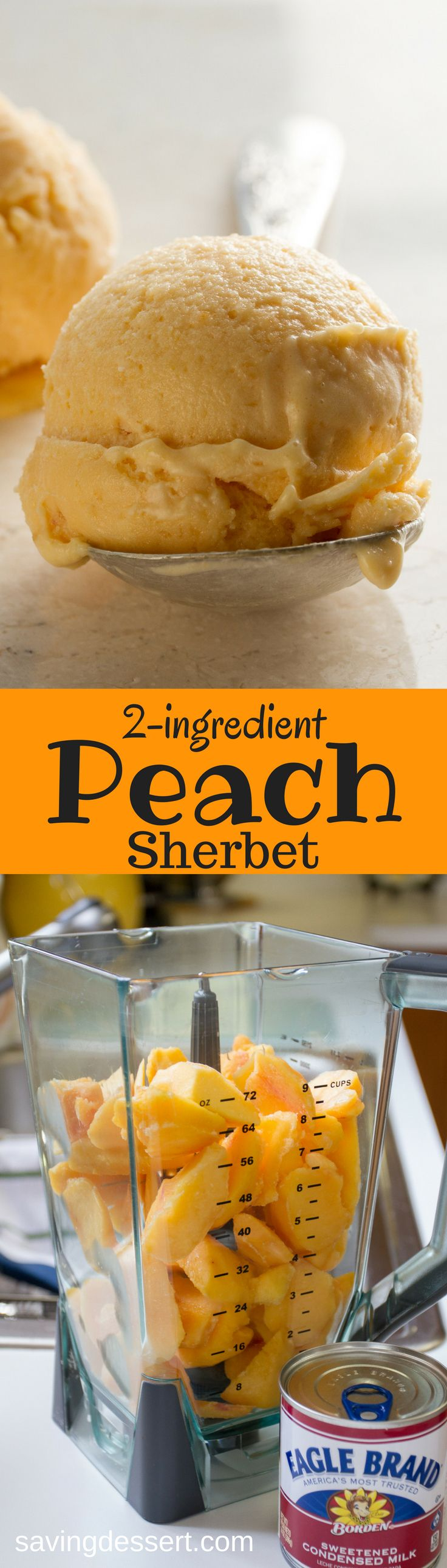 Peach Sherbet - a creamy, delicious, velvety smooth fresh peach dessert - made with only two ingredients right in your blender! www.savingdessert.com