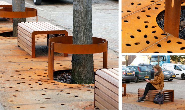 In samenwerking met ipv delft op maat gemaakte bankjes, hekjes en boomroosters van cortenstaal.
