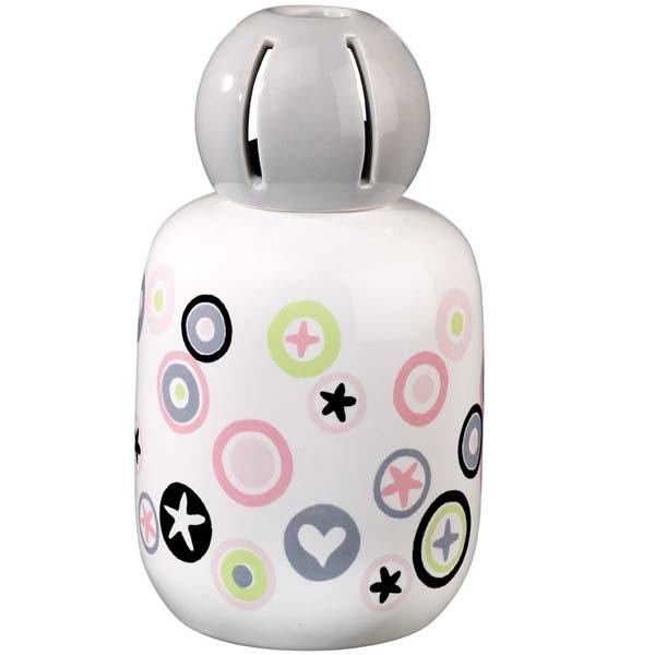 Customisation décalée. Lampe en porcelaine habillée d'un décor ludique. Une touche de gaieté et de fraîcheur.