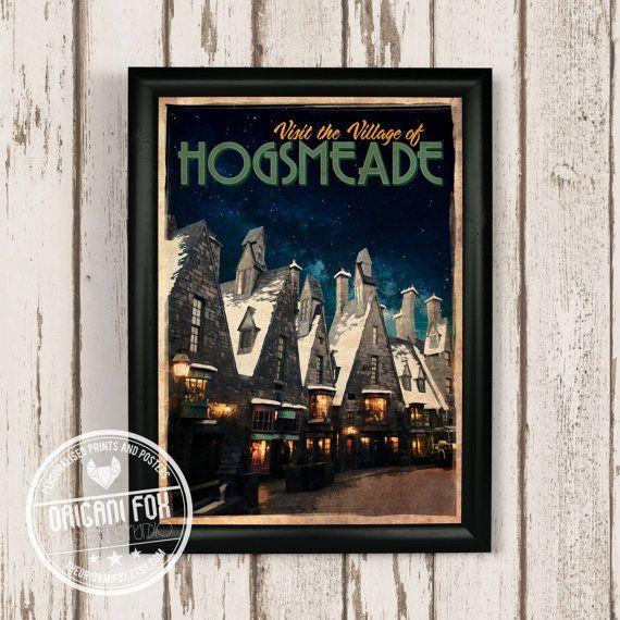 Hogsmeade Retro Travel Poster - Harry Potter inspiré Estampe - style Vintage