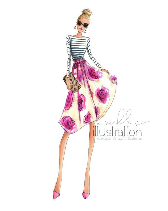 Bloom (Print) By HNIllustration. Love this gals spring style <3