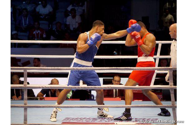 Tony Yoka of France takes on Joseph Joyce of Great Britain in the heavyweight semifinal. (ATR)