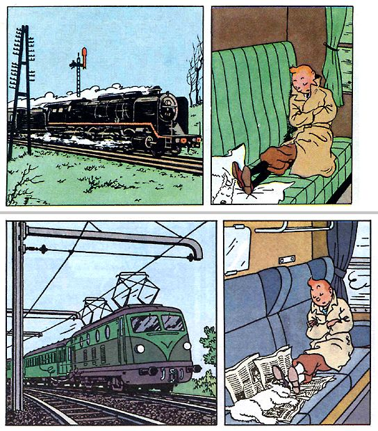 The Black Island, the 1943 (above) and the 1966 remake edition (bottom). Tintin by Herge