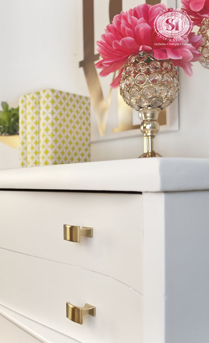White Painted Dresser w Brushed Gold Hardware