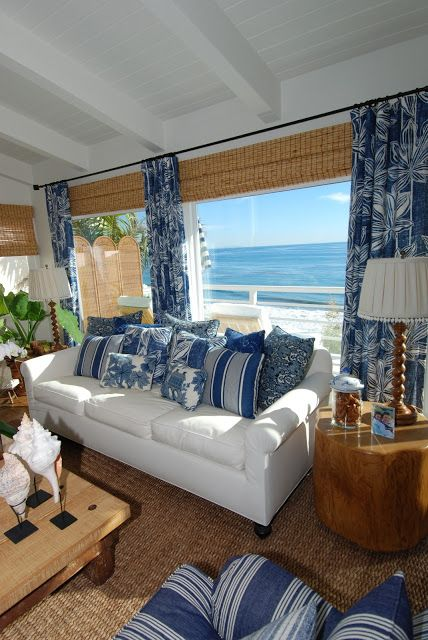 Coastal blue and white beach house decor