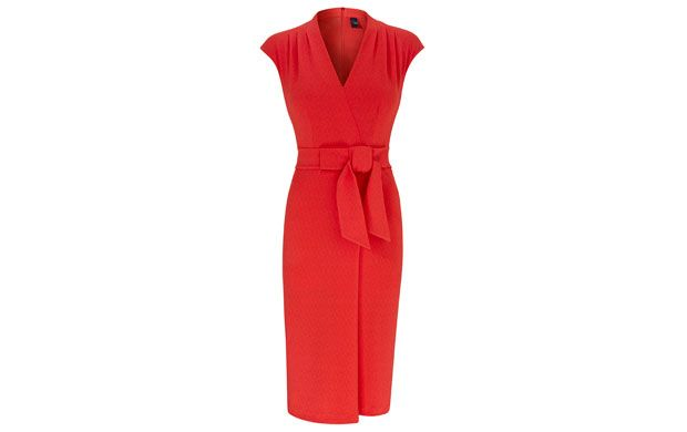 "Bow Wrap Dress. ""Feel like a Hollywood siren in this show-stopping red dress with waist-enhancing tie belt."""