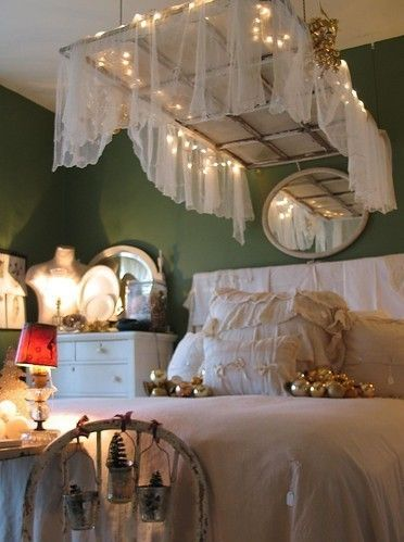 Hanging Window Frame + String Lights + Fabric = Coolest Prettiest Girliest Bed Canopy EVER ...