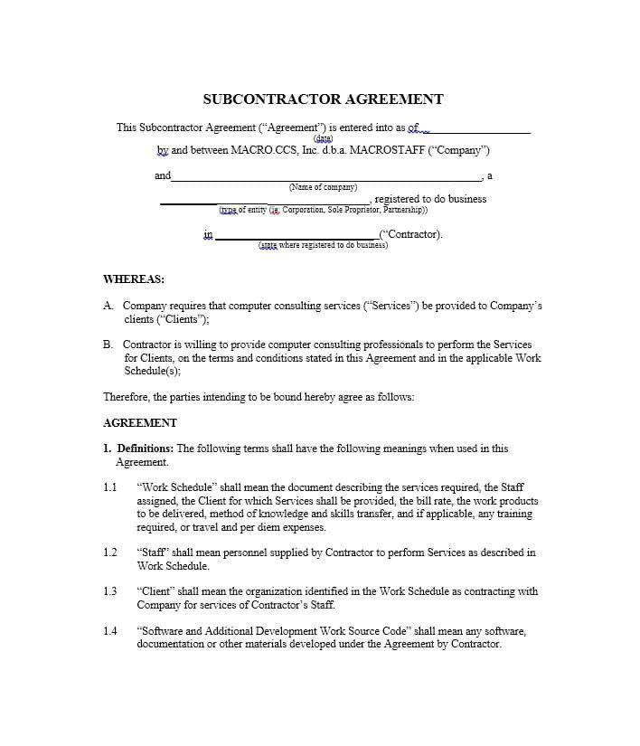28 Subcontractor Contract Template Free In 2020 Contract