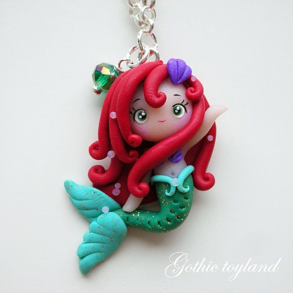 *POLYMER CLAY ~ Kawaii Cuties Sweet Ariel Mermaid Pendant Necklace with Polymer Clay