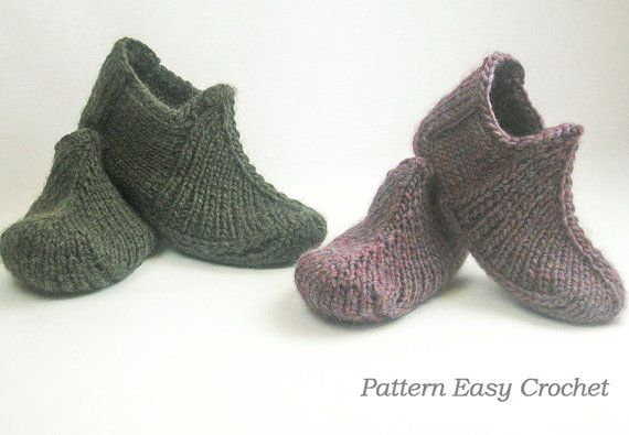 This is a KNITTING PATTERN SLIPPERS ONLY    Knitted a comfy pair of Slippers for you. These slippers do not have a seam that is very convenient.