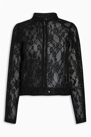 Черная кружевная байкерская куртка