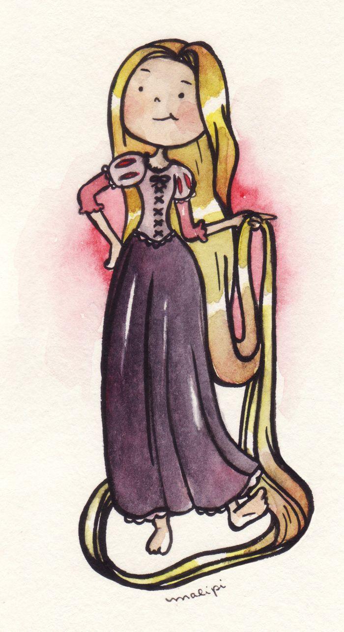 Princesas Disney em aquarela | malipi.com