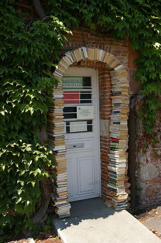 Entrance to the Municipal Library, Lavaur, Midi-Pyrenees, France