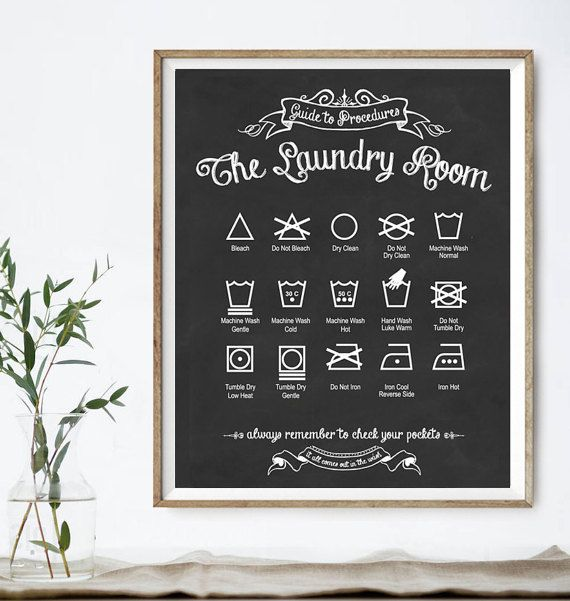 75+ LAUNDRY DESIGNS (all available in 56 colors): https://www.etsy.com/shop/letteredandlined?section_id=12913003  laundry schedule * stain removal * laundry organization * sentimental laundry quotes * modern & vintage designs * wash, dry, fold art * historic illustration decor * laundry art sets ***  Ever stare at a tag wondering what all those symbols mean? Add some functional and graphic art to your laundry area! This original, vintage-style print is printed on ...