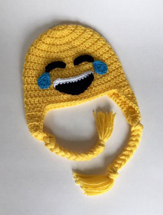 Crochet emoji hat crochet hat kids knit emoji by TwoPeasInAPodCo