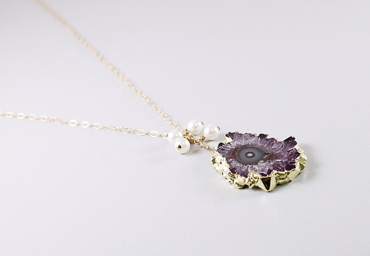 Amethyst stalactite necklace: gold druzy necklace, natural crystal drusy pendant pearls handmade jewelry by NatureLook. $130.00, via Etsy.