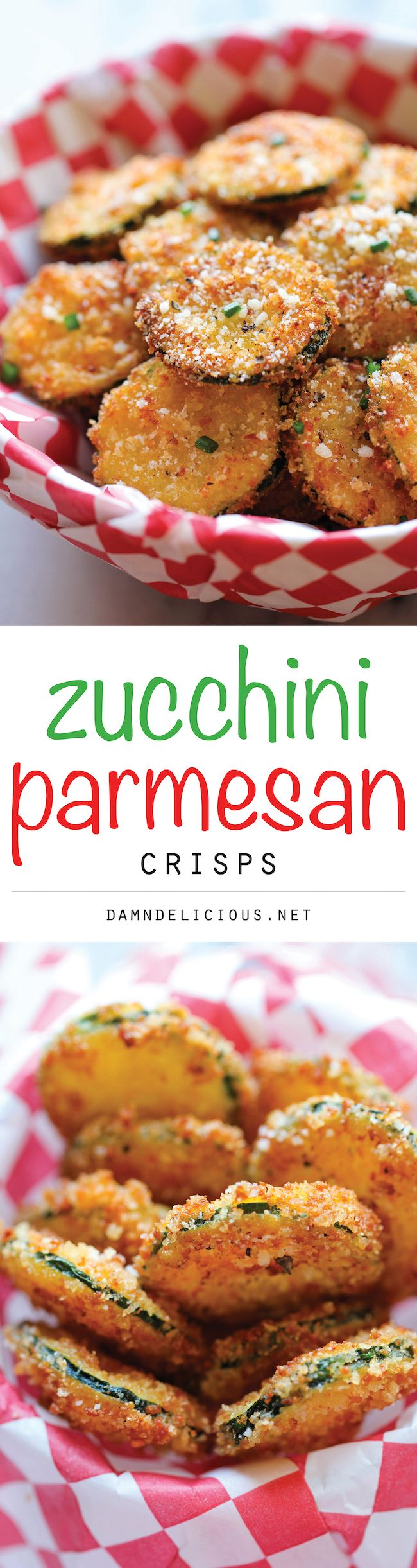 Zucchini Parmesan Crisps - A healthy snack that's incredibly crunchy, crispy and addicting - from Damn Delicious.