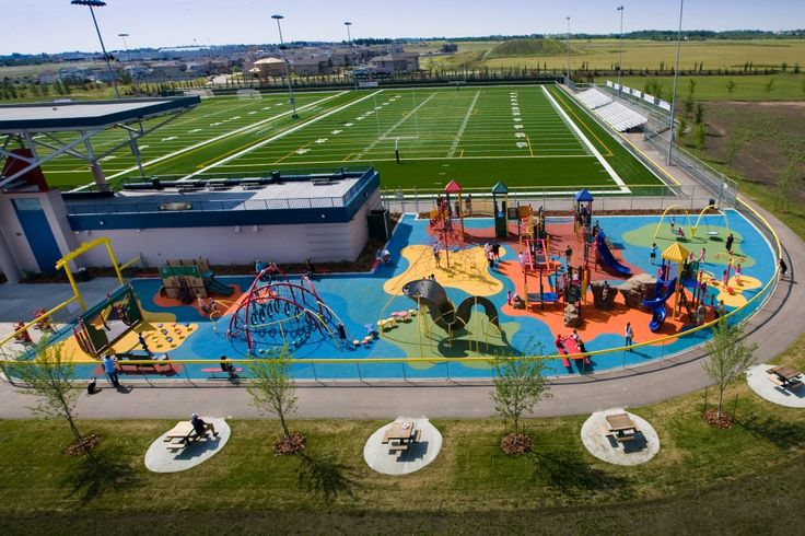 Rotary Playscape West District Park - Spruce Grove, AB - Landscape Structures PlayBooster, Evos, PlayShaper structures - 12  Panel Mobius Climber & Lunar Blast Climbing Net
