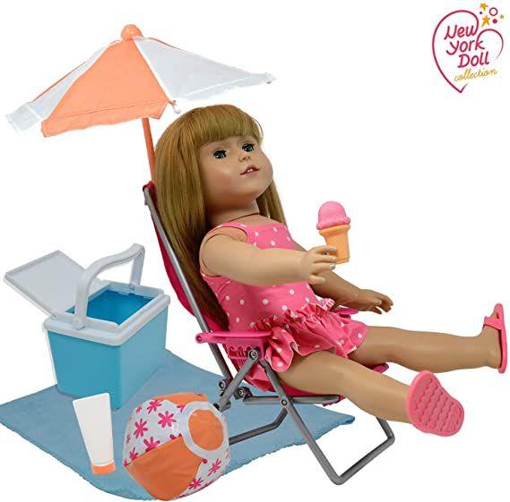 Amazon Com 18 Inch Dolls Beach Set Fits American Girl Doll Accessorie American Girl Doll Accessories Our Generation Doll Accessories American Girl Doll Food