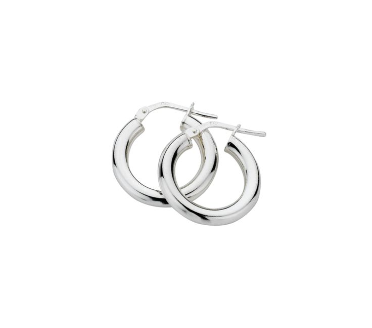 Sterling Silver Polished Hoop Earrings 2.5/15mm, Earrings, SJ1214