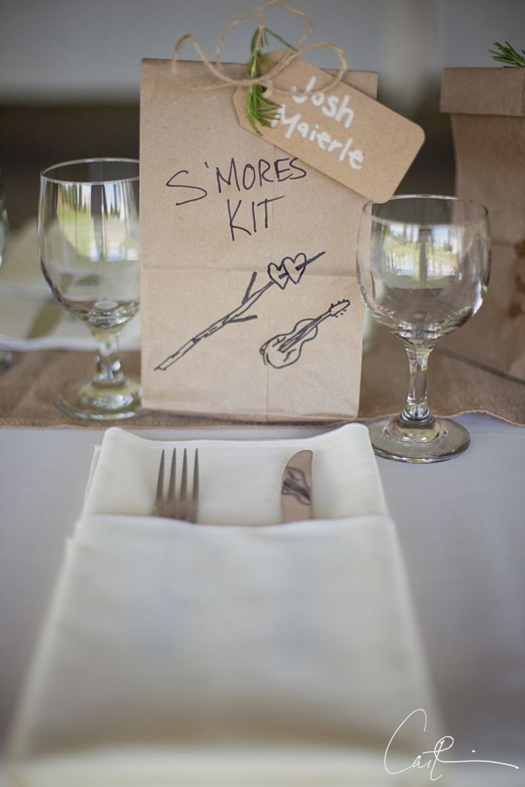 place setting at mountain wedding with make your own s'mores kit, boulder, colorado