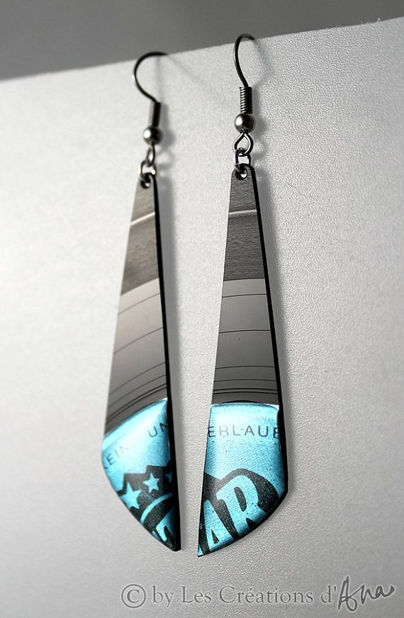 Earrings made from vinyl records.