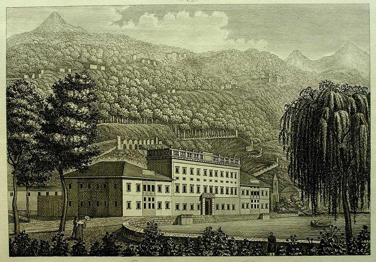 Veduta di Villa d'Este, Acquaforte S. Corsi incise, da Corografie d'Italia di Orlandini Zuccagni. Firenze 1845, cm. 25x35.