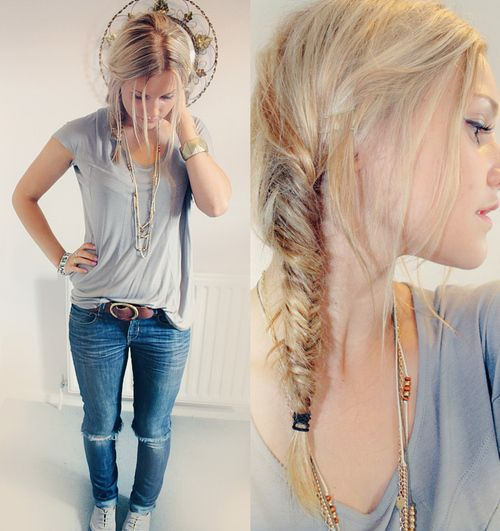 love the skinny jeans and the hair: Fish Tail, Long Hair, Cute Outfits, Girls Hairstyles, Hair Style, Fishtail Braids, Casual Looks, Casual Outfits, Braids Hair
