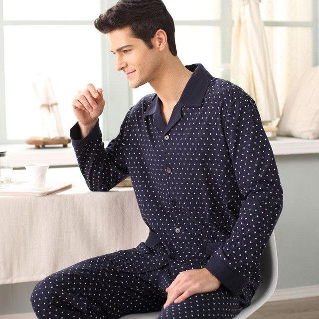 Gadpat Spring Autumn Men's Pajamas Long Sleeve Sleepwear Cotton Plaid Cardigan Pyjamas Men Lounge Pajama Sets Plus Size M-4xl