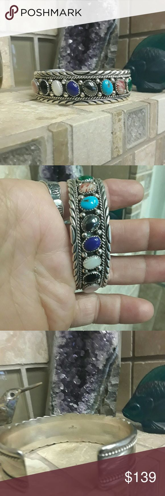 Navajo Multi Stone Cuff Nice Vintage piece Stamped Sterling & Signed RB *Stones are to the best of my knowledge..Rose Quartz * Onyx* MOP* Lapis* Hematite * Turquoise * Rhodochrosite* Malachite * Navajo  Jewelry Bracelets