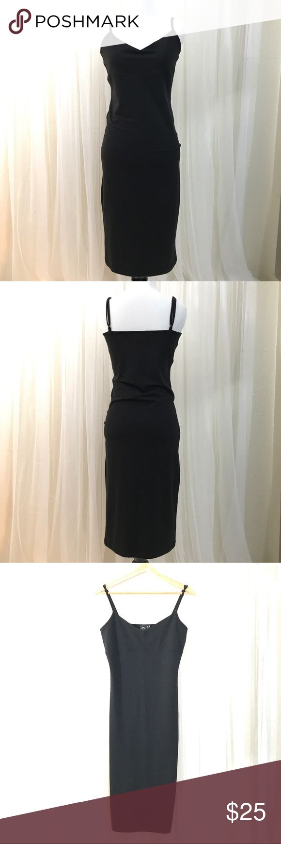 Asos Spaghetti Strap Bodycon Midi Dress Like new condition.  Adjustable straps.  Stretchy, comfy and sexy, fitted knee length pullover dress.  Mannequin is a size 2/4 so it's slightly loose on her. ASOS Dresses Midi