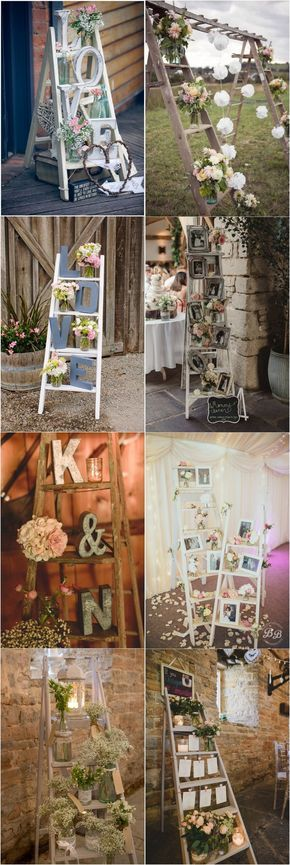Country Weddings » 22 Rustic Country Wedding Decoration Ideas with Ladders » ❤️ More: http://www.weddinginclude.com/2017/06/rustic-country-wedding-decoration-ideas-with-ladders/