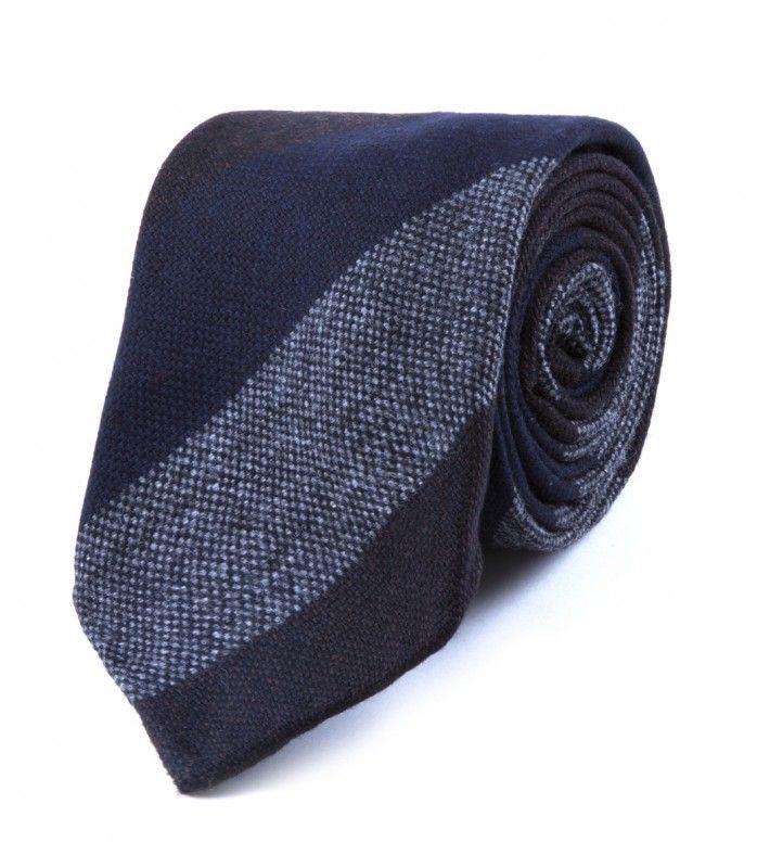Navy, Brown & Grey Block Stripe Woven Wool Tie
