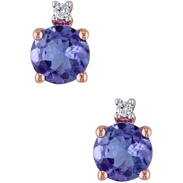 10K Pink Gold Tanzanite & Diamond Pin Earrings (£115) ❤ liked on Polyvore featuring jewelry, earrings, purple, diamond jewelry, purple jewelry, diamond earrings, diamond post earrings and pin earrings