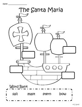 Worksheets Columbus Day Worksheets 25 best ideas about columbus day on pinterest writing activity label the santa maria three different varieties of