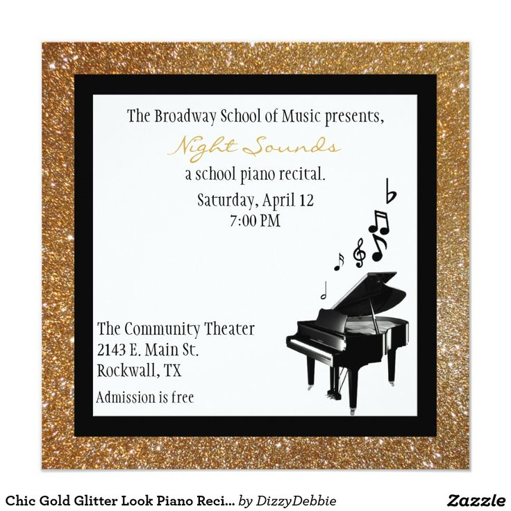 24 best music recital images on pinterest piano recital chic gold glitter look piano recital invitation stopboris Images