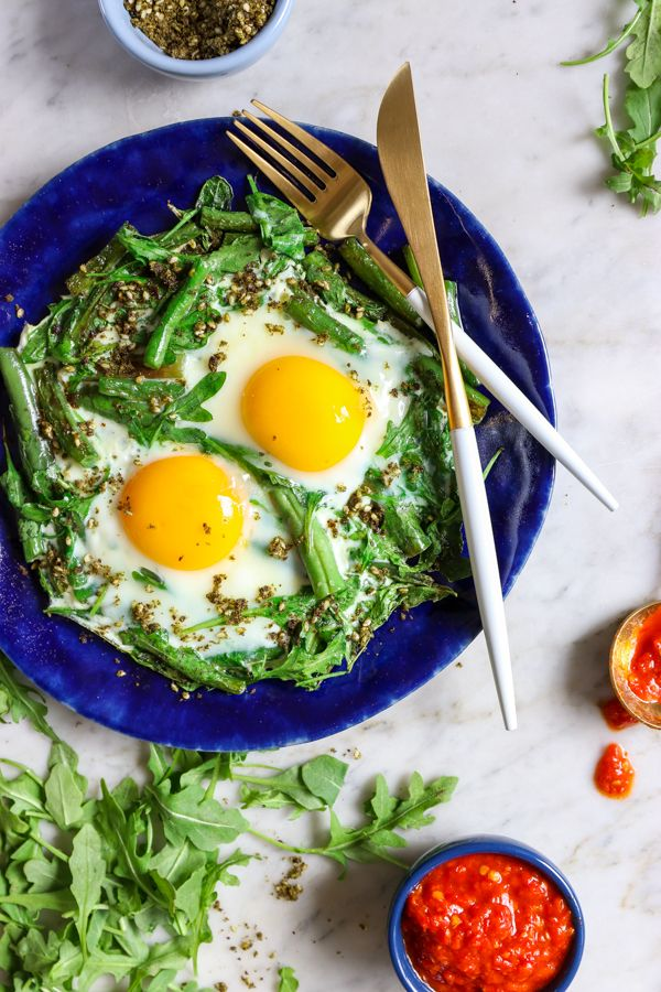 Green Bean Shakshuka topped with Harissa and Za'atar! An easy, delicious breakfast.