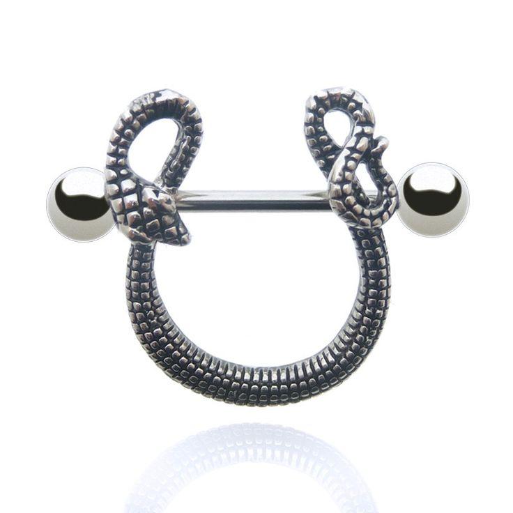 Piercing de téton serpent en acier chirurgical. Découvrez sur C-Bo, des bijoux de qualité pour les piercing : nez, nombril, arcade, tragus,...
