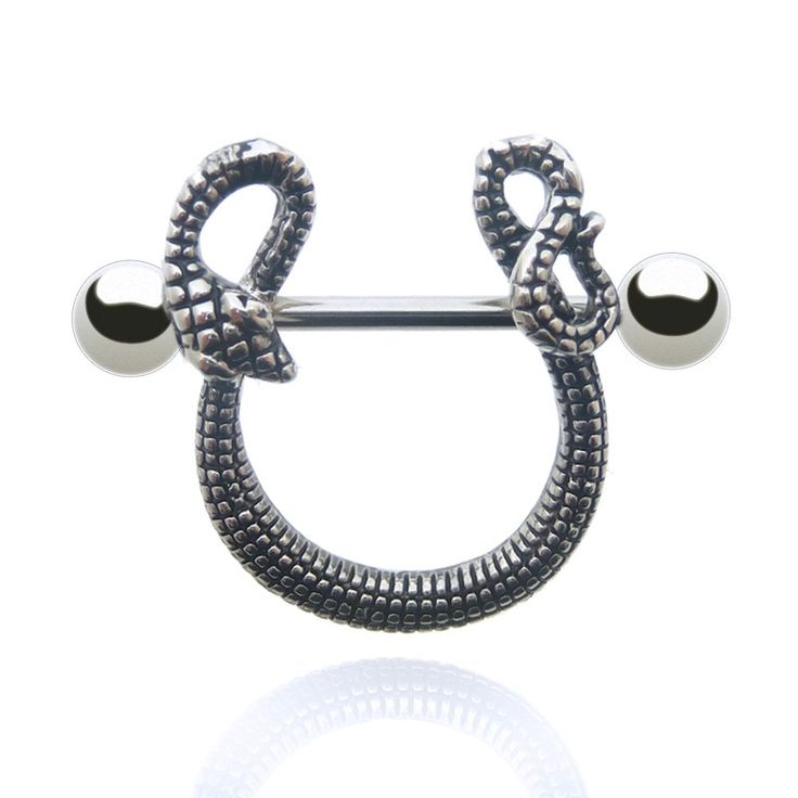 Piercing de téton serpent en acier chirurgical.